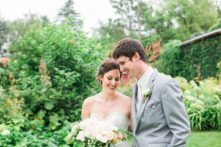 Bride Embellished Strapless Bridal Gown Bouquet Pale Pink White Roses Groom Light Grey Suit White Vest White Tie Flower Farm Outdoor Wedding Minnesota http://eileenkphoto.com/