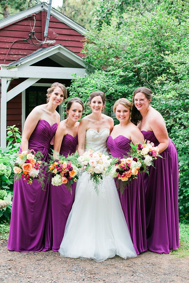 Bride Embellished Strapless Bridal Gown Bouquet Pale Pink White Roses Bridesmaids Purple Strapless Dresses Bright Multicoloured Bouquets Flower Farm Outdoor Wedding Minnesota http://eileenkphoto.com/