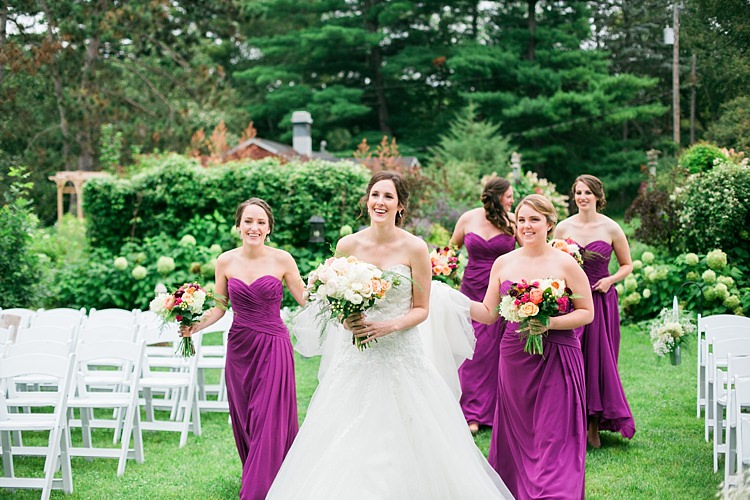 Bride Embellished Strapless Bridal Gown Bridesmaids Purple Strapless Dresses Bright Multicoloured Bouquets Flower Farm Outdoor Wedding Minnesota http://eileenkphoto.com/