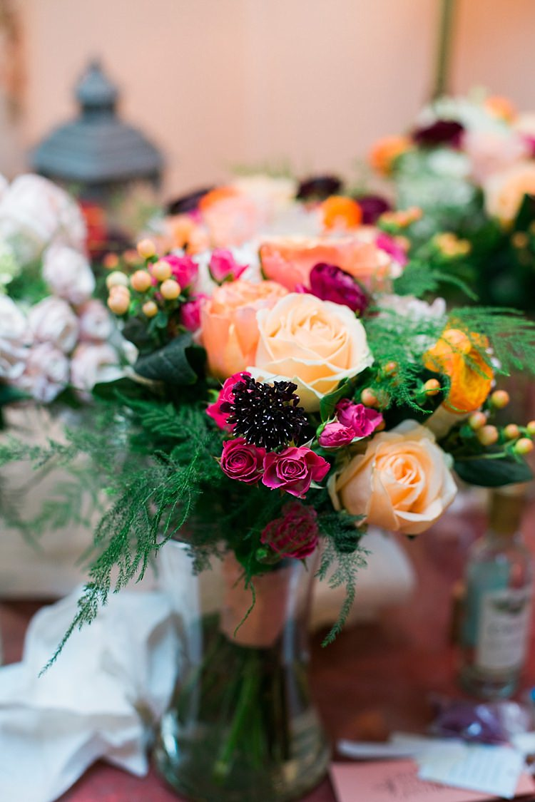 Bright Floral Bouquet Orange Pink Peach Roses Greenery Flower Farm Outdoor Wedding Minnesota http://eileenkphoto.com/