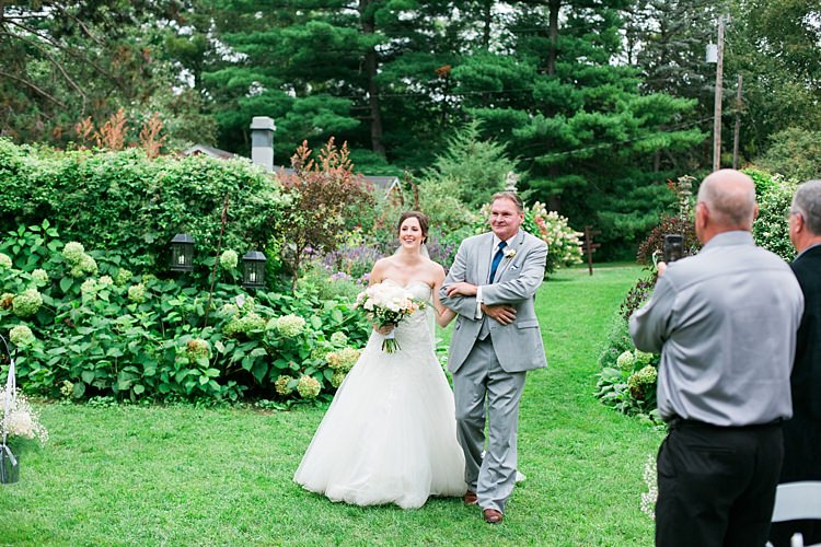 Outdoor Ceremony Bride Embellished Strapless Bridal Gown Bouquet Pale Pink White Roses Father Guests Flower Farm Outdoor Wedding Minnesota http://eileenkphoto.com/