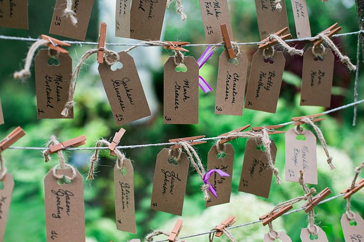 Table Seating Chart Handwritten Tags Pegs Flower Farm Outdoor Wedding Minnesota http://eileenkphoto.com/