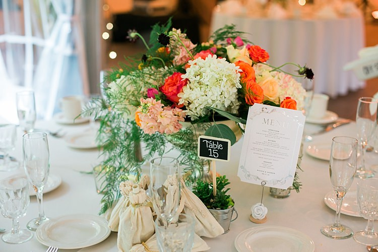 Reception Table Setting Bright Multicoloured Floral Centrepiece Mini Blackboard Table Number Guest Favours Menu Flower Farm Outdoor Wedding Minnesota http://eileenkphoto.com/