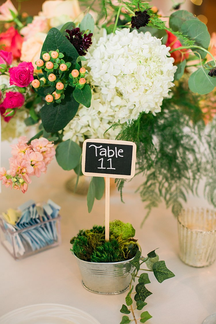 Reception Table Setting Bright Multicoloured Floral Centrepiece Mini Blackboard Table Number Greenery Flower Farm Outdoor Wedding Minnesota http://eileenkphoto.com/