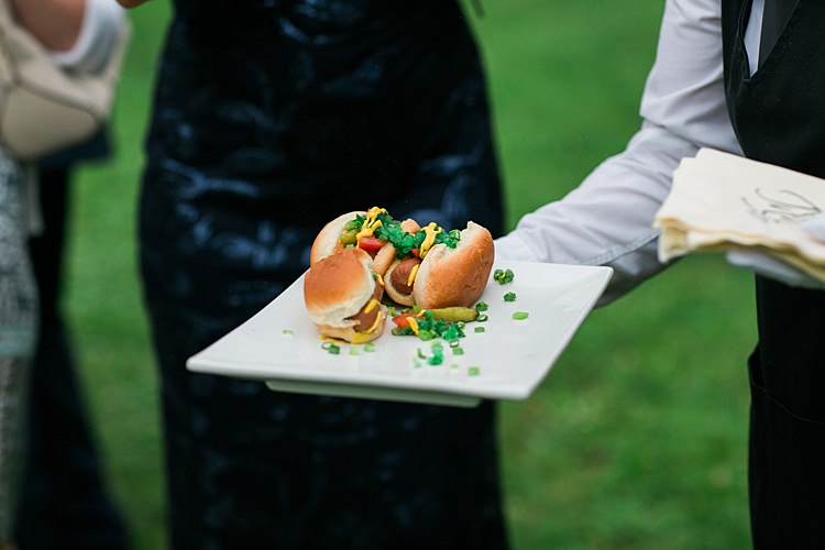 Reception Gourmet Hotdogs Guests Flower Farm Outdoor Wedding Minnesota http://eileenkphoto.com/