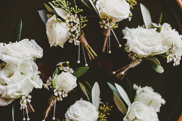 Cream Rose Buttonholes Glamorous Gatsby City Hall Wedding http://www.emmakenny.com/
