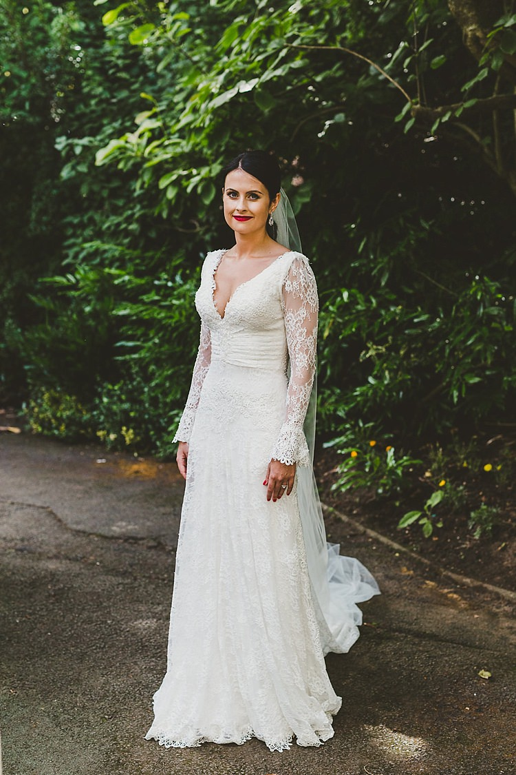 Lace Sleeves Dress Gown Bride Bridal Modeca Glamorous Gatsby City Hall Wedding http://www.emmakenny.com/