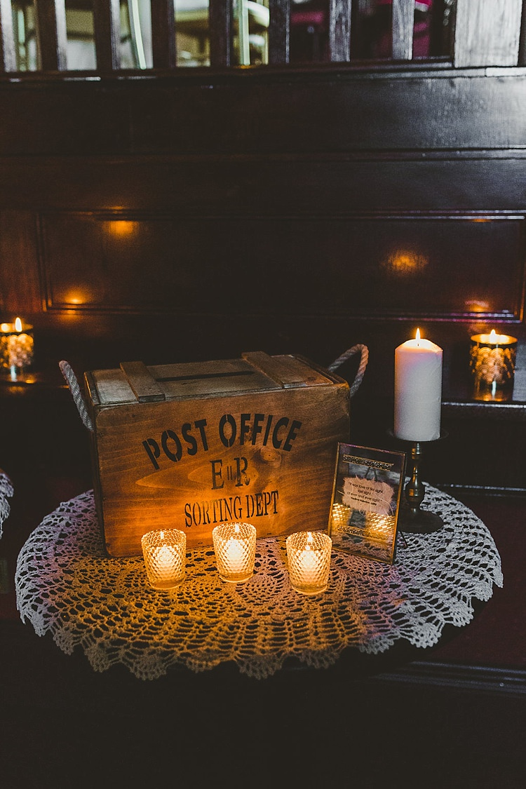 Candles Crate Box Decor Glamorous Gatsby City Hall Wedding http://www.emmakenny.com/