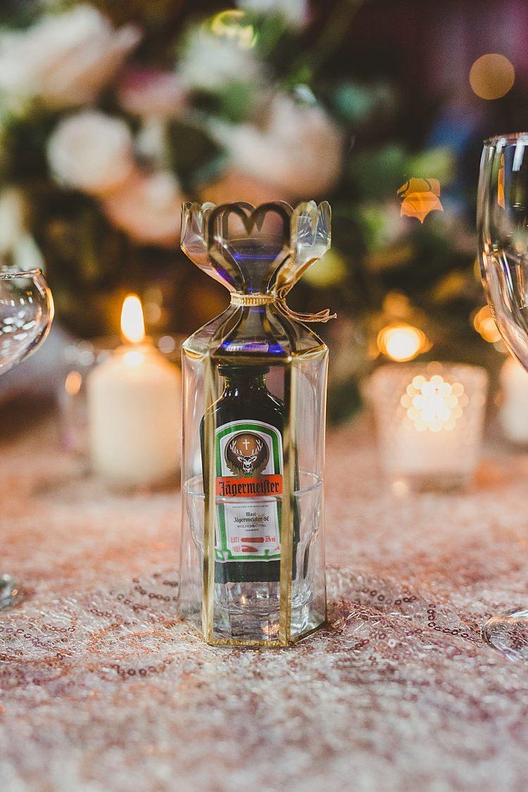 Shot Favours Drink Mini Bottle Glamorous Gatsby City Hall Wedding http://www.emmakenny.com/