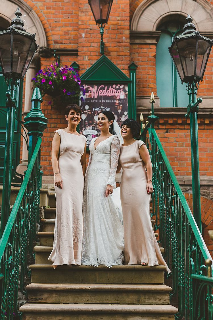 Long Blush Ghost Bridesmaid Dresses Glamorous Gatsby City Hall Wedding http://www.emmakenny.com/