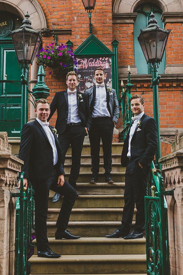 Tuxedo Bow Tie Groom Groomsmen Glamorous Gatsby City Hall Wedding http://www.emmakenny.com/