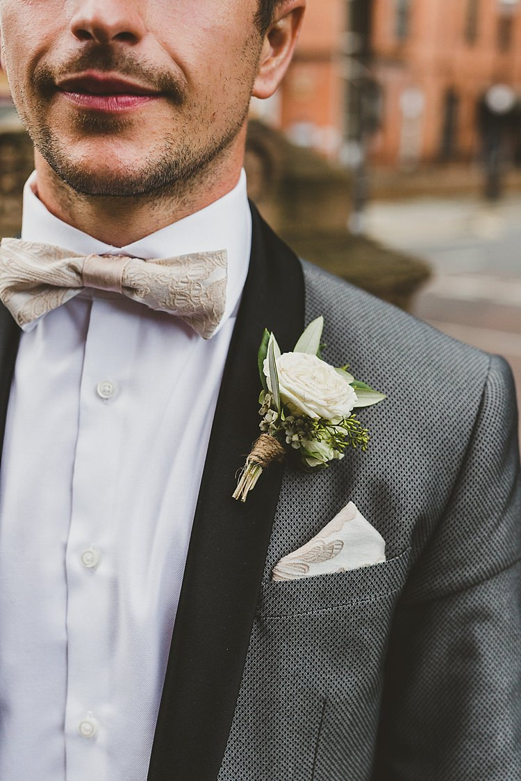 Bow Tie Rose Buttonhole Groom Glamorous Gatsby City Hall Wedding http://www.emmakenny.com/