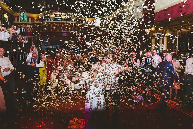 Confetti Bomb First Dance Glamorous Gatsby City Hall Wedding http://www.emmakenny.com/