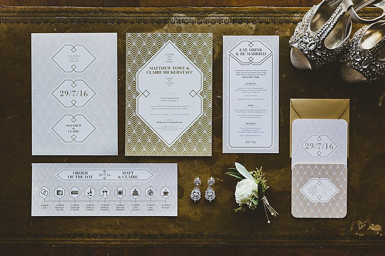 Art Deco Gold Stationery Invitations Glamorous Gatsby City Hall Wedding http://www.emmakenny.com/