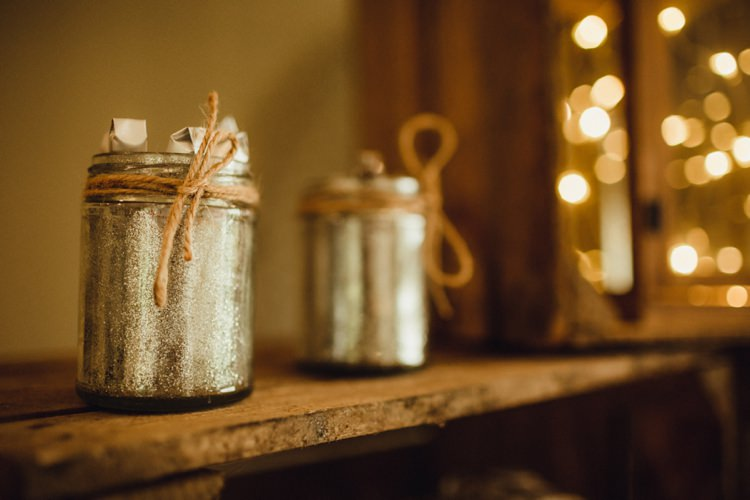 Glitter Jar Decor Twine Simple Rustic Cosy Winter Wedding http://aniaames.co.uk/