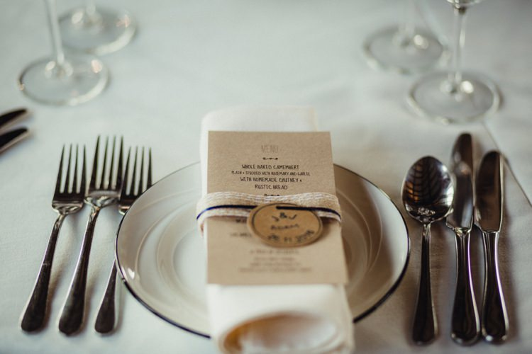 Place Setting Stationer Kraft Brown Paper Twine Ribbon Simple Rustic Cosy Winter Wedding http://aniaames.co.uk/