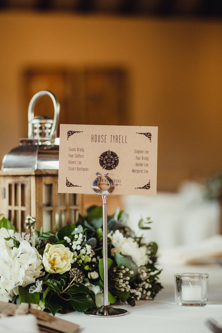 Game of Thrones Table Names Simple Rustic Cosy Winter Wedding http://aniaames.co.uk/