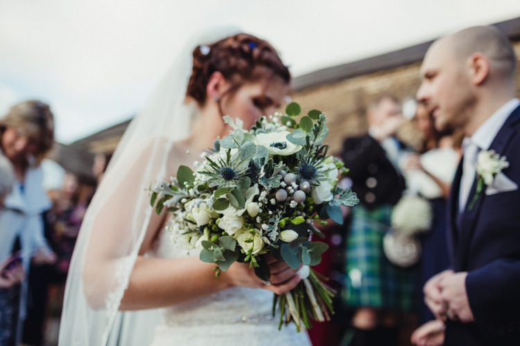 Bouquet Grey Cream Greenery Foliage Anemones Thistle Bride Bridal Flowers Simple Rustic Cosy Winter Wedding http://aniaames.co.uk/