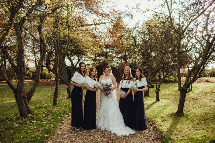 Long Navy Bridesmaid Dresses Shrug Simple Rustic Cosy Winter Wedding http://aniaames.co.uk/