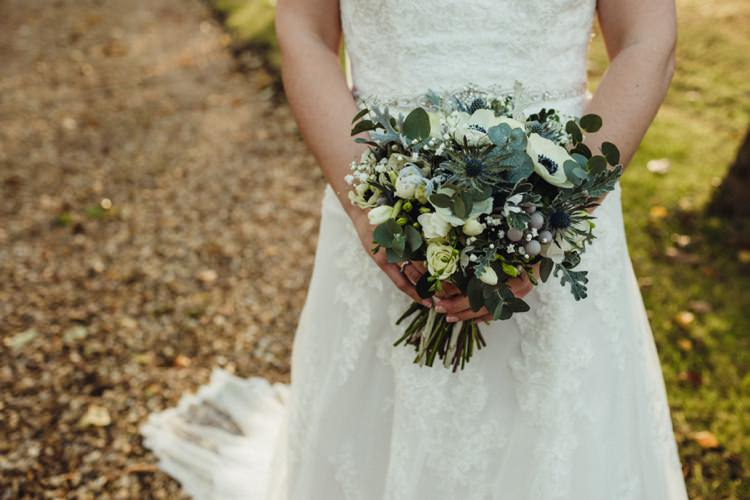 Bouquet Grey Cream Greenery Foliage Anemones Thistle Simple Rustic Cosy Winter Wedding http://aniaames.co.uk