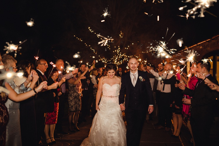 Sparklers Exit Bride Groom Simple Rustic Cosy Winter Wedding http://aniaames.co.uk/