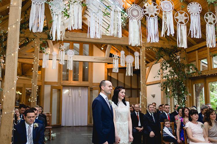 Dream Catchers Backdrop Ceremony Stylish Soft Blush Wedding http://www.jemmakingphotography.co.uk/