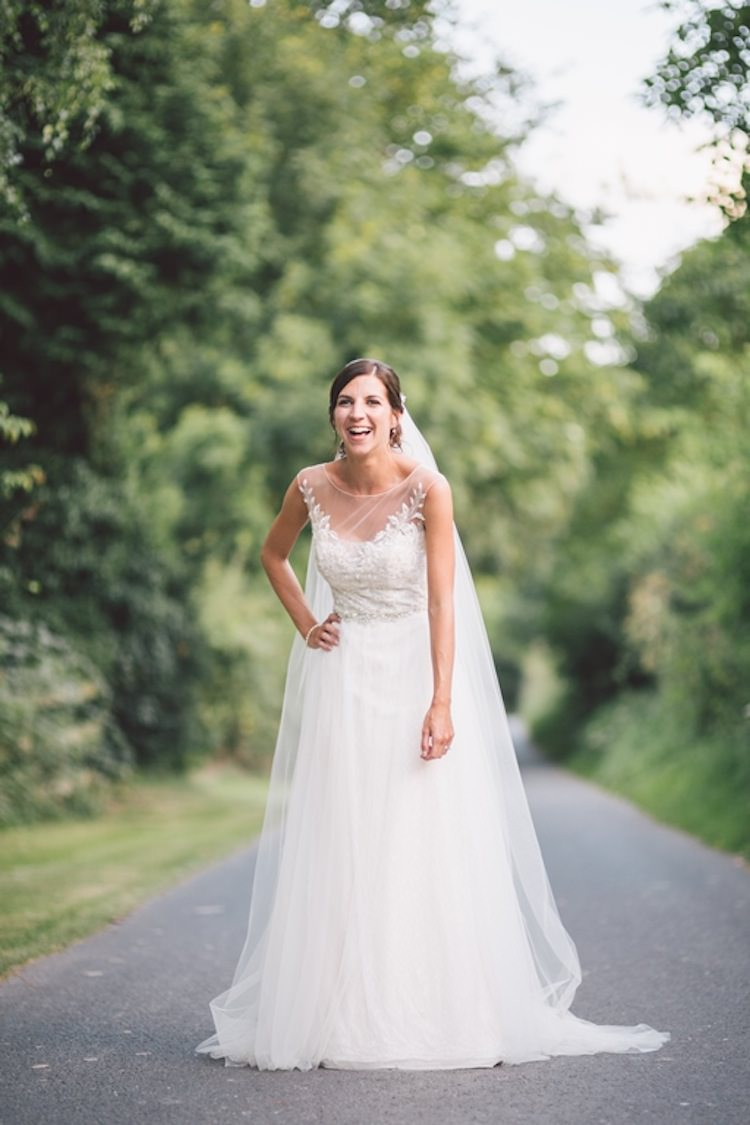 Dress Bride Bridal Gown Tulle Veil Melinda Sottero & Midgely Light Pretty Summer Barn Wedding http://www.koweddings.com/
