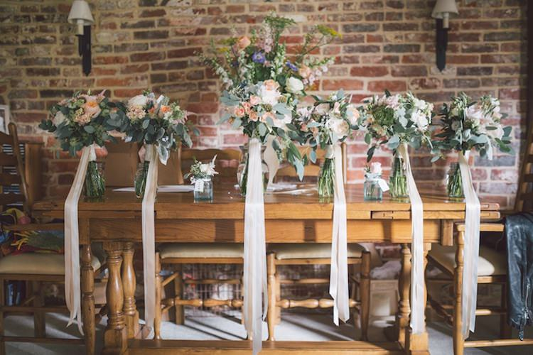 Flowers Bouquets Ribbons Bridesmaids Bridal Peach Light Pretty Summer Barn Wedding http://www.koweddings.com/
