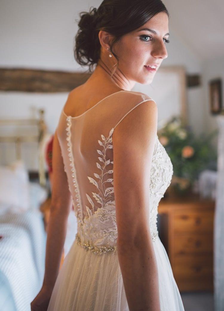 Dress Gown Bride Bridal Illusion Back Tulle Belt Melinda Sottero & Midgely Light Pretty Summer Barn Wedding http://www.koweddings.com/