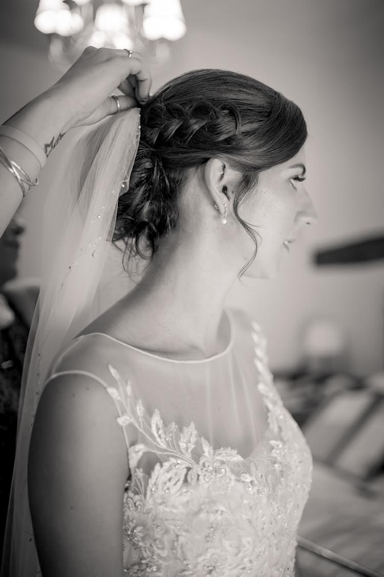 Hair Bride Bridal Plait Braid Veil Accessory Light Pretty Summer Barn Wedding http://www.koweddings.com/