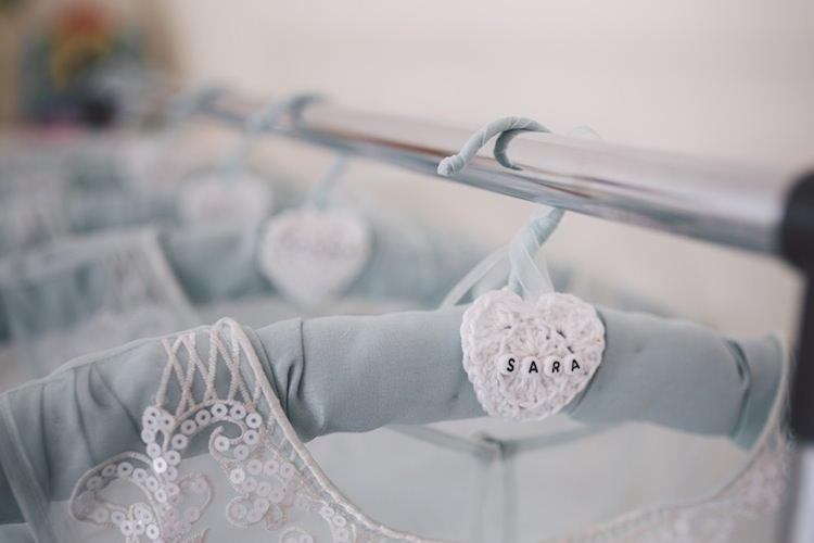 Personalised Hangers Bridesmaids Crochet Light Pretty Summer Barn Wedding http://www.koweddings.com/