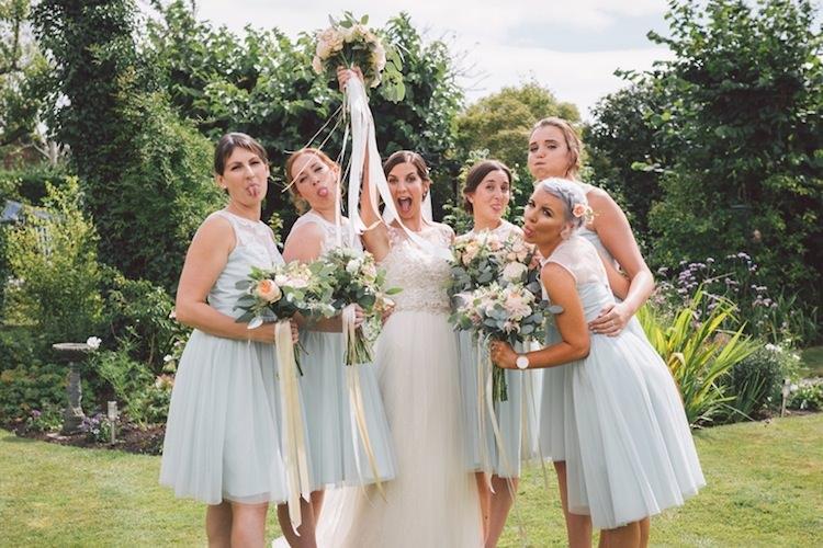 Short Pale Blue Green Bridesmaid Dresses Light Pretty Summer Barn Wedding http://www.koweddings.com/