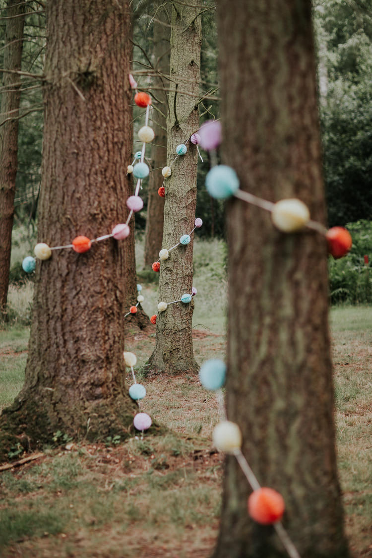 Pom Pom Garland Trees Woodland Countryside Camp Wedding http://www.joannanicolephotography.com/