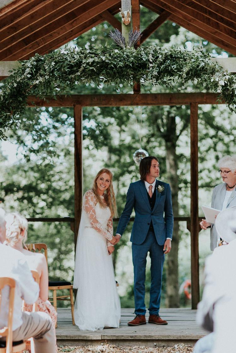Foliage Greenery Arch Arbour Ceremony Woodland Countryside Camp Wedding http://www.joannanicolephotography.com/