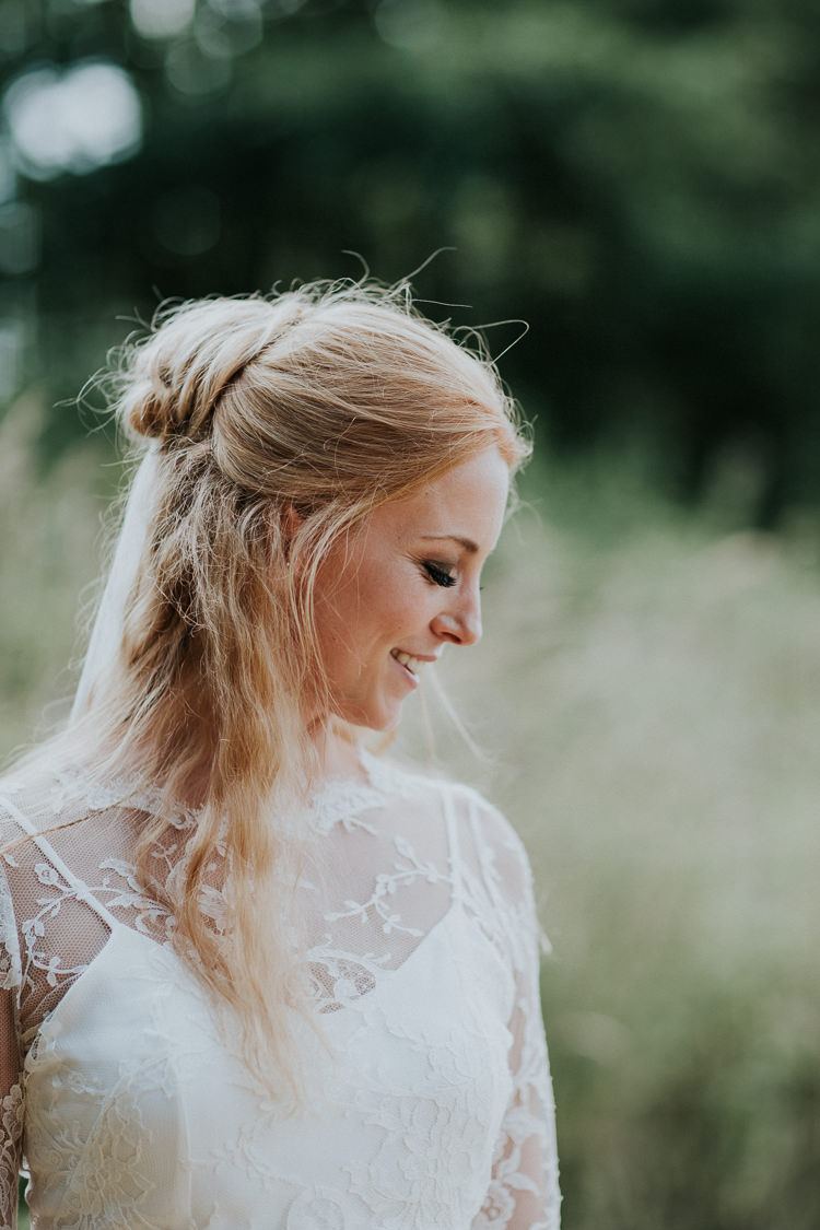 Hair Bride Bridal Style Half Up Down Woodland Countryside Camp Wedding http://www.joannanicolephotography.com/