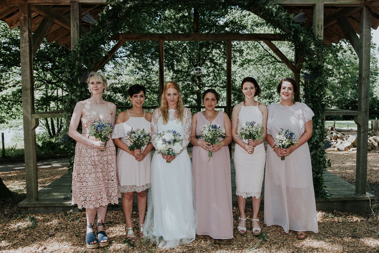 Mismatched Pink Bridesmaid Dresses Woodland Countryside Camp Wedding http://www.joannanicolephotography.com/