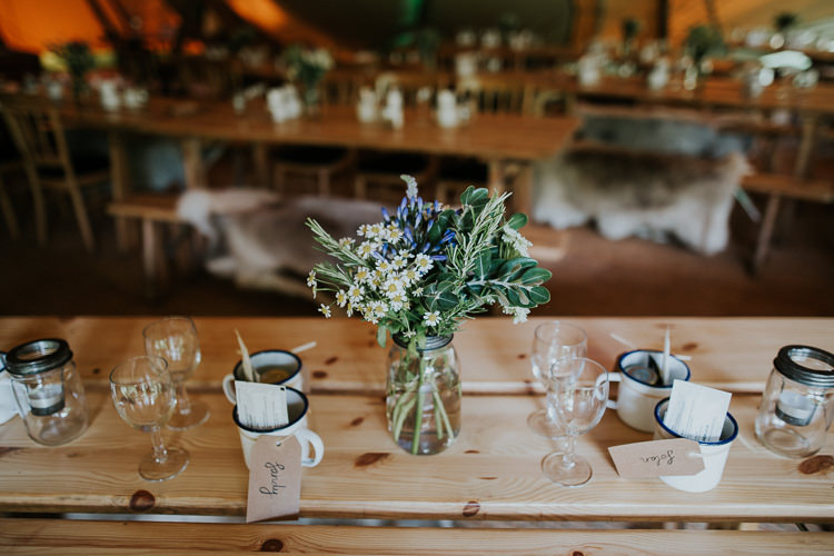 Jar Flowers Blooms Table Decor Mugs Woodland Countryside Camp Wedding http://www.joannanicolephotography.com/