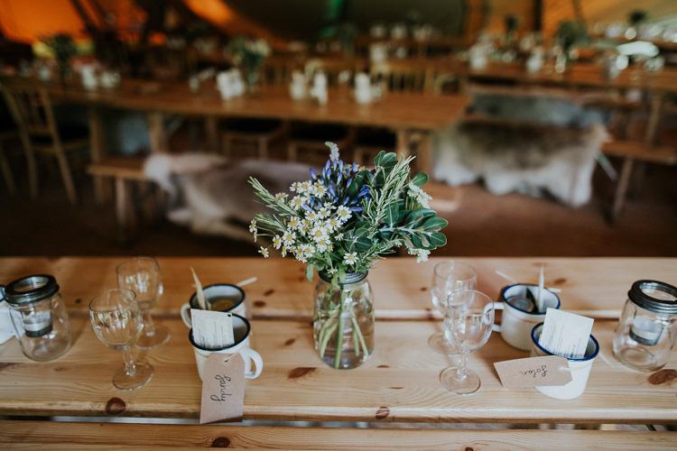 Jar Flowers Blooms Table Decor Mugs Woodland Countryside Camp Wedding http://www.joannanicolephotography.com/