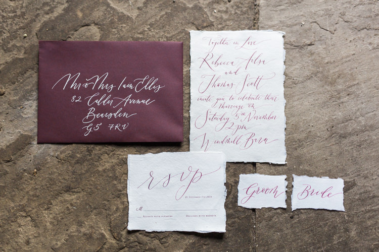 Red Burgundy Stationery Calligraphy Dreamy Luxe Autumn Wedding Ideas http://suzanneli.co.uk/