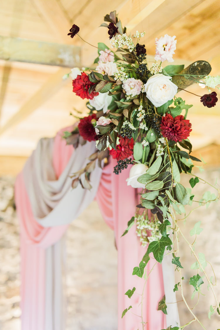 Backdrop Arbour Flowers Red Greenery Dreamy Luxe Autumn Wedding Ideas http://suzanneli.co.uk/