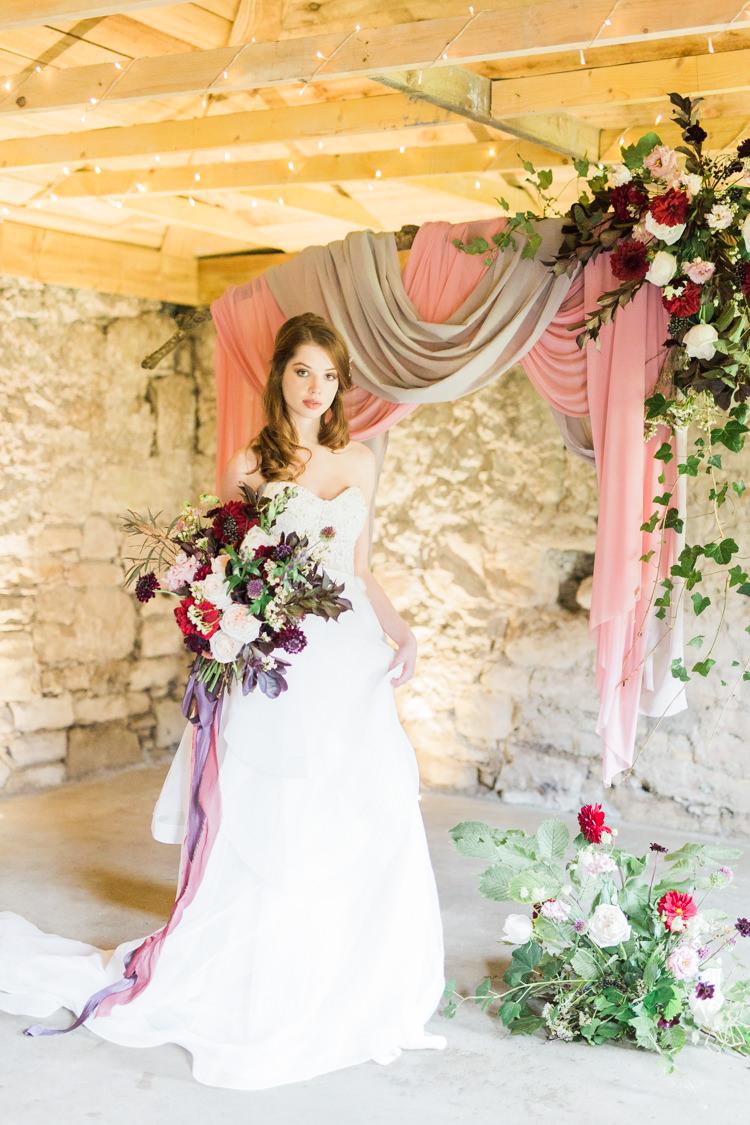 Strapless Dress Gown Bride Bridal Backdrop Dreamy Luxe Autumn Wedding Ideas http://suzanneli.co.uk/