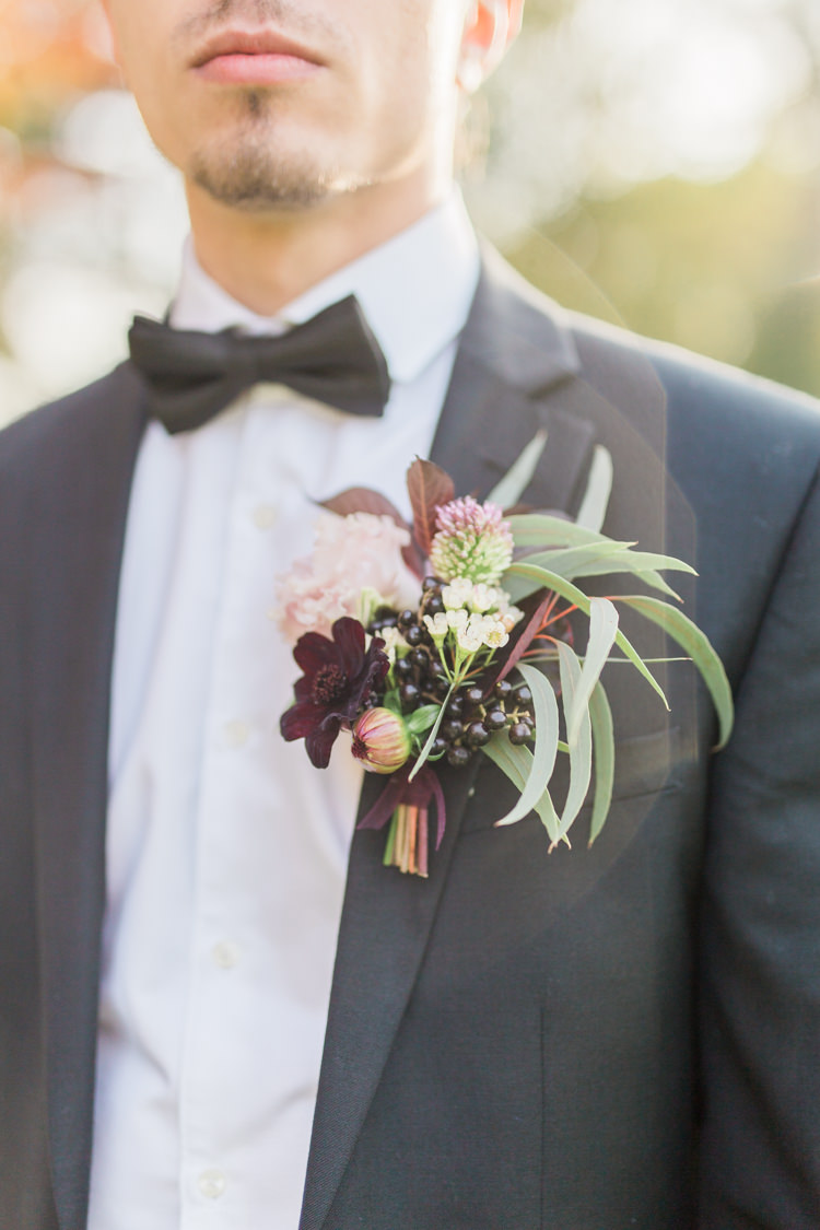 Large Buttonhole Groom Berries Burgundy Dreamy Luxe Autumn Wedding Ideas http://suzanneli.co.uk/