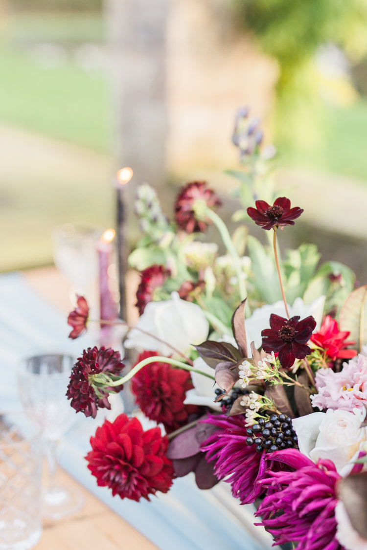 Flowers Table Decor Red Dahlia Foliage Ribbons Dreamy Luxe Autumn Wedding Ideas http://suzanneli.co.uk/
