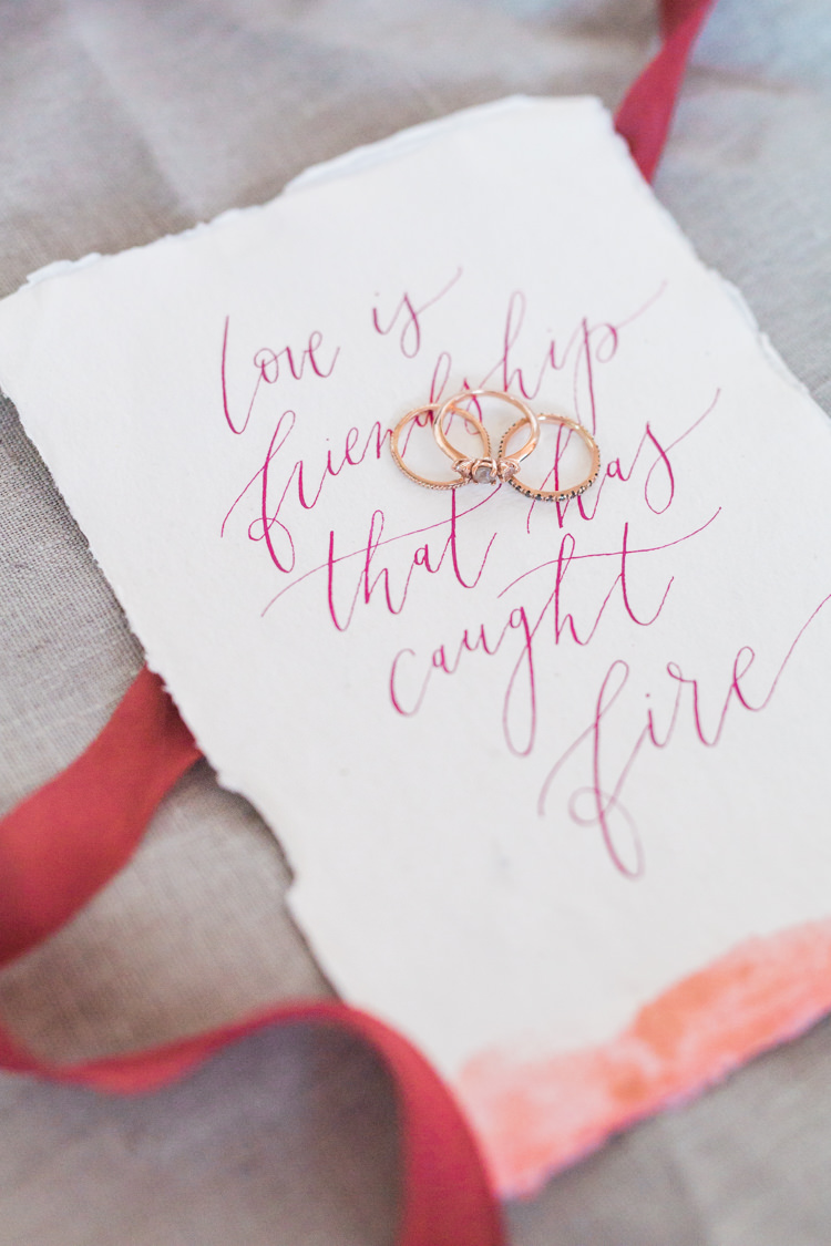 Rose Gold Rings Engagement Band Calligraphy Stationery Dreamy Luxe Autumn Wedding Ideas http://suzanneli.co.uk/