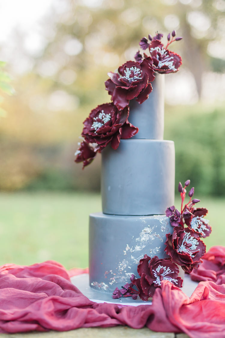 Grey Marsala Red Floral Cake Dreamy Luxe Autumn Wedding Ideas http://suzanneli.co.uk/