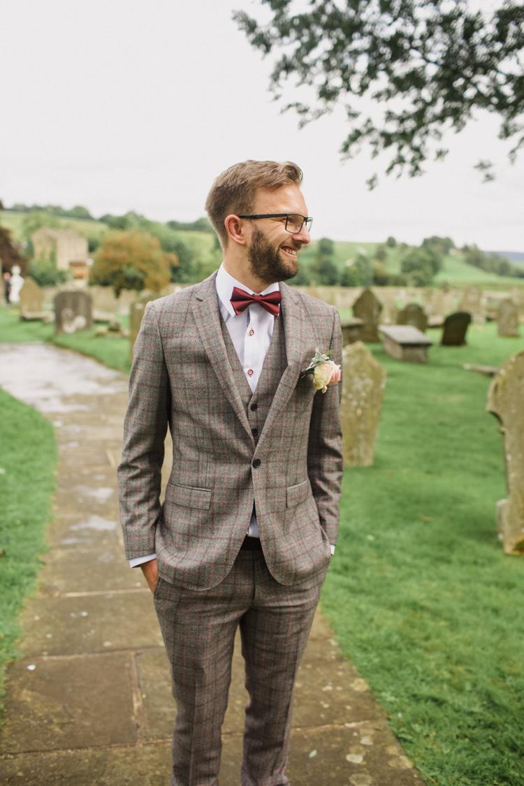 Check Wool Brown Tweed Suit Bow Tie Groom Summer Country Pastels Wedding http://jesspetrie.com/