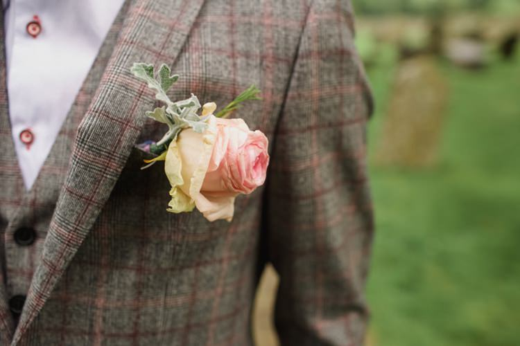 Pink Rose Buttonhole Groom Summer Country Pastels Wedding http://jesspetrie.com/