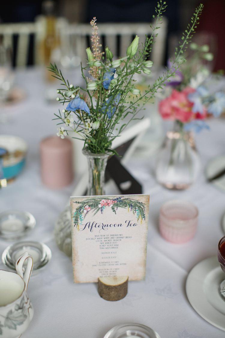 Flowers Bottles Stationery Menu Summer Country Pastels Wedding http://jesspetrie.com/