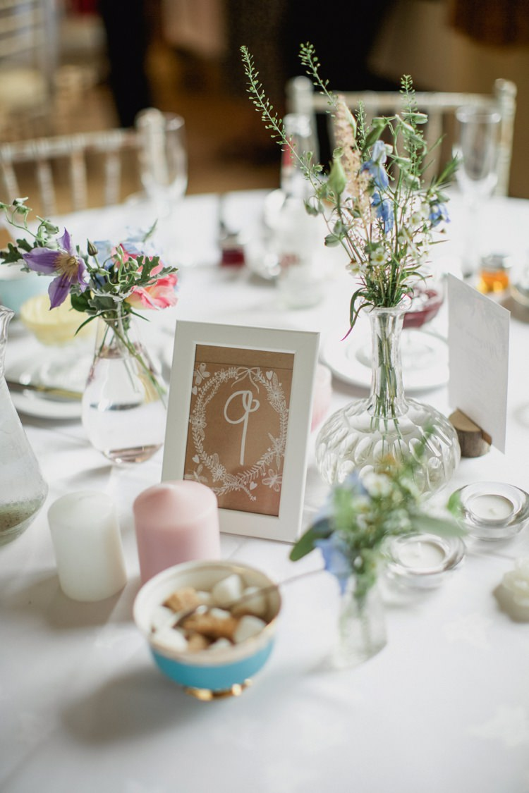 Flowers Bottles Kraft Brown Paper Table Number Summer Country Pastels Wedding http://jesspetrie.com/