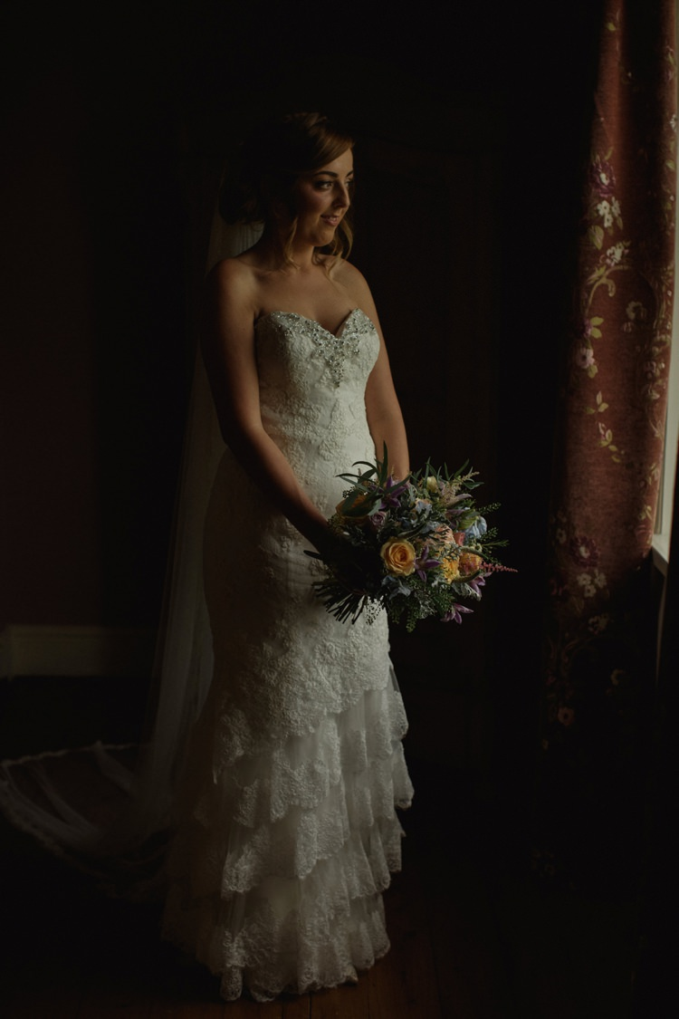 Sweetheart Strapless Gown Bride Bridal Jessica Enzoani Ruffle Tier Lace Summer Country Pastels Wedding http://jesspetrie.com/